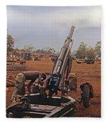 M102 105mm Light Towed Howitzer  2 9th Arty At Lz Oasis R Vietnam 1969 Fleece Blanket