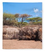 Maasai Huts In Their Village In Tanzania Fleece Blanket