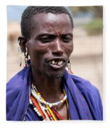 Maasai Man Portrait In Tanzania Fleece Blanket