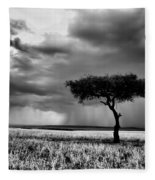 Maasai Mara In Black And White Fleece Blanket