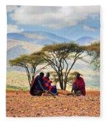Maasai Men Sitting. Savannah Landscape In Tanzania Fleece Blanket