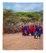 Maasai People And Their Village In Tanzania Fleece Blanket