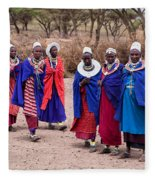 Maasai Women In Front Of Their Village In Tanzania Fleece Blanket