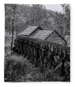 Mabry Mill Water Shute In Black And White Fleece Blanket