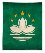 Macau Flag Vintage Distressed Finish Fleece Blanket