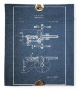 Machine Gun - Automatic Cannon By C.e. Barnes - Vintage Patent Blueprint Fleece Blanket