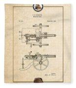 Machine Gun - Automatic Cannon By C.e. Barnes - Vintage Patent Document Fleece Blanket