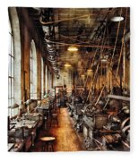 Machinist - Machine Shop Circa 1900's Fleece Blanket