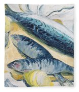 Mackerel With Oysters And Lemons, 1993 Oil On Paper Fleece Blanket