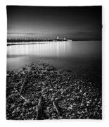 Mackinac Bridge Bw Fleece Blanket