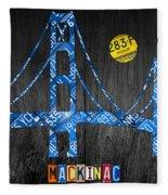 Mackinac Bridge Michigan License Plate Art Fleece Blanket