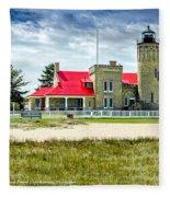 Mackinac Point Lighthouse Michigan Fleece Blanket