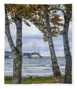 Mackinaw Bridge In Autumn By The Straits Of Mackinac Fleece Blanket