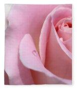 Macro Pink Rose Flower Raindrop Fleece Blanket