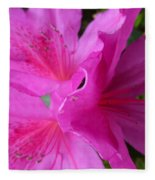 Macro Purple Azalea Flower Fleece Blanket
