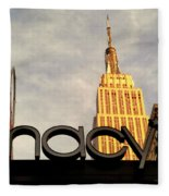 Macy's With Empire State Building - Famous Buildings And Landmarks Of New York City Fleece Blanket