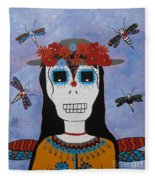 Madame Dragonfly Day Of The Dead Fleece Blanket