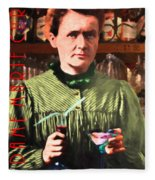 Madame Marie Curie Shaking Up A Killer Martini At The Swank Hipster Club 88 20140625 With Text Fleece Blanket