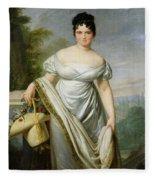 Madame Tallien 1773-1835 Oil On Canvas Fleece Blanket
