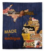 Made In Michigan Products Vintage Map On Wood Fleece Blanket