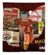 Made In Ohio Products Vintage Map On Wood Fleece Blanket