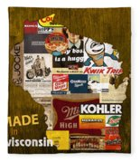 Made In Wisconsin Products Vintage Map On Wood Fleece Blanket