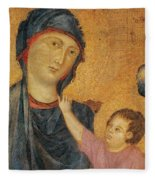 Madonna And Child Enthroned  Fleece Blanket