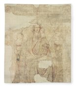 Madonna And Child Enthroned, Drawing For A Fresco Sinopia On Paper Fleece Blanket