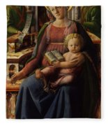 Madonna And Child Enthroned With Two Angels Fleece Blanket