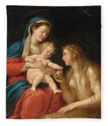 Madonna And Child With Mary Magdalene  Fleece Blanket