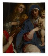 Madonna And Child With Saints John The Baptist With Mary Magdalene And Anne Fleece Blanket