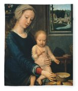 Madonna And Child With The Milk Soup Fleece Blanket
