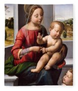 Madonna And Child With The Young Saint John The Baptist Fleece Blanket