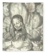Madonna On Black And White Screen Fleece Blanket