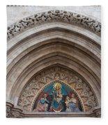 Madonna With Child On Matthias Church Tympanum Fleece Blanket