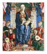 Madonna With The Child Enthroned  Fleece Blanket