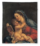 Madonna With The Child Fleece Blanket