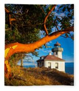 Madrone And Lighthouse Fleece Blanket