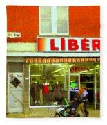 Magazin Liberal Notre Dame Ouest Dress Shop Strolling  St. Henri  Street Scenes Carole Spandau Fleece Blanket