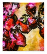 Magenta Flowers  -- Cubism Fleece Blanket