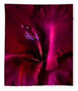 Magenta Gladiola Flower Fleece Blanket