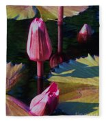 Magenta Lily Pads Fleece Blanket