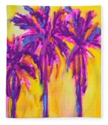 Magenta Palm Trees Fleece Blanket