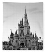 Magic Kingdom Castle In Black And White Fleece Blanket