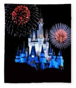 Magic Kingdom Castle In Blue With Fireworks Fleece Blanket