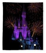 Magic Kingdom Castle In Purple With Fireworks 03 Fleece Blanket