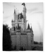 Magic Kingdom Castle Side View In Black And White Fleece Blanket