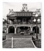 Magic Kingdom Train Station In Black And White Walt Disney World Fleece Blanket