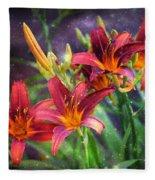 Magical Evening Daylilies Fleece Blanket