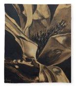 Magnolia Blossom In Sepia Fleece Blanket
